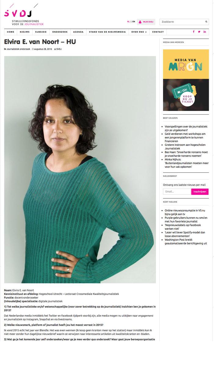 Stimuleringsfonds voor de journalistiek Elvira van Noort fotograaf Michiel Bles.